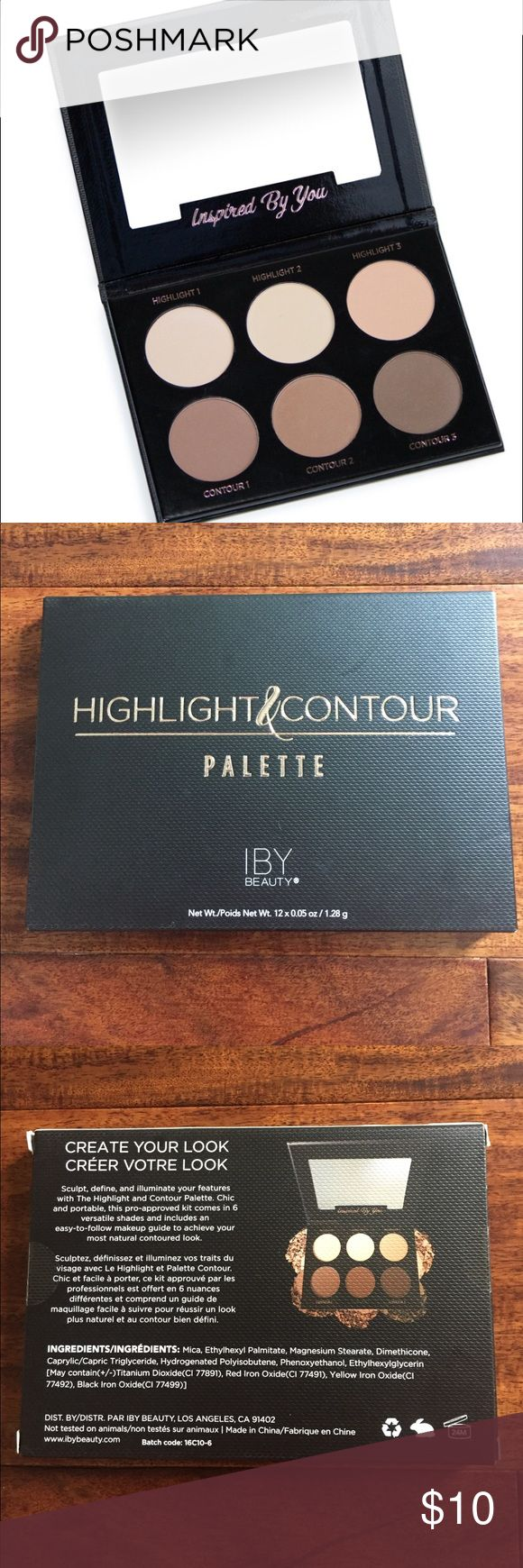 IBY Contour Palette Sealed, new and never opened. Sculpt, define, and illuminate your features with the Highlight and Contour Palette. Chic and portable, this pro-approved kit comes in 6 versatile shades and includes an easy-to-follow makeup guide to achieve your most natural contoured look. IBY Makeup