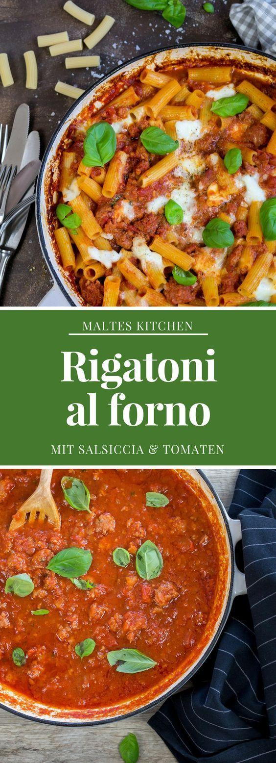 Rigatoni al forno mit Salsiccia und Tomatensauce | #Rezept von malteskitchen.de