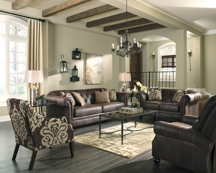 Awesome Longdon Place Espresso Chocolate Faux Leather Living Room Set Part 19