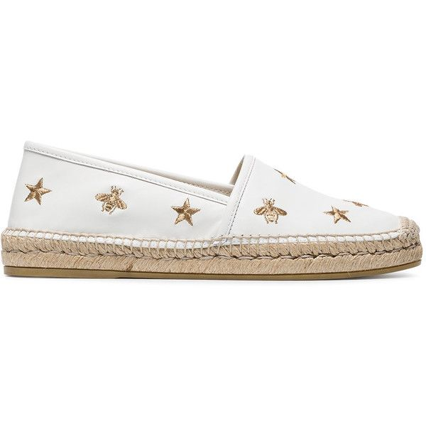 Gucci White Pilar Bee Embroidery leather Espadrilles (2.195 RON) ❤ liked on Polyvore featuring shoes, sandals, white, gucci sandals, espadrille sandals, embroidered shoes, white espadrilles and white espadrille sandals