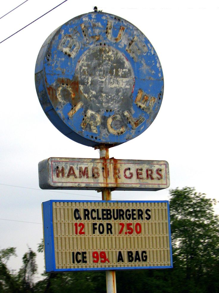 Bristol, TN Blue Circle Hamburgers used to be a chain of 30 drive-in fast food in the area around Northeast Tennessee.  Years later, this one location on the old Bluff City Highway is the only one still open and the old neon sign still stands since 1964.  Ironically, Circleburgers are square, like a Krystal or White Castle, but many of the locals think it's so much better.  I wish I could have stopped here, but I can only expect  my wife to humor me so many times on one trip.  www.gotrici...