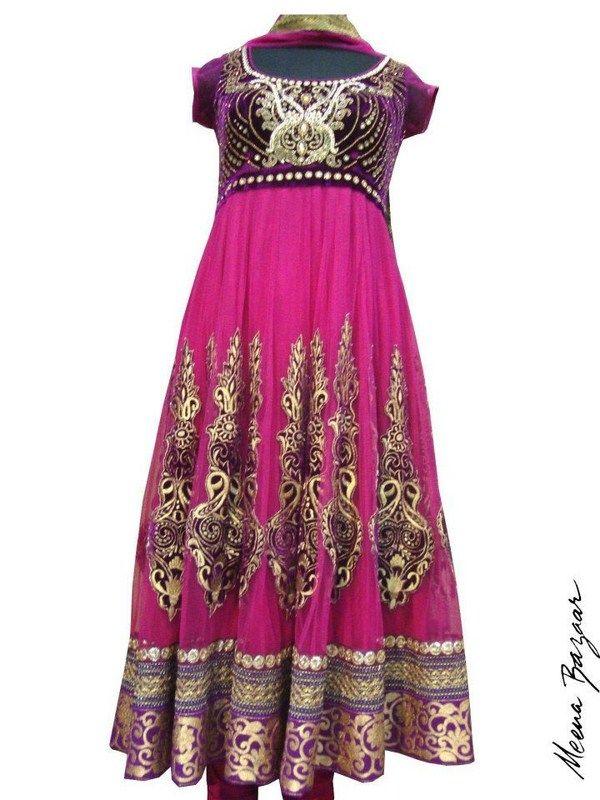 Meena Bazaar Anarkali Winter Dresses 2013 For Women