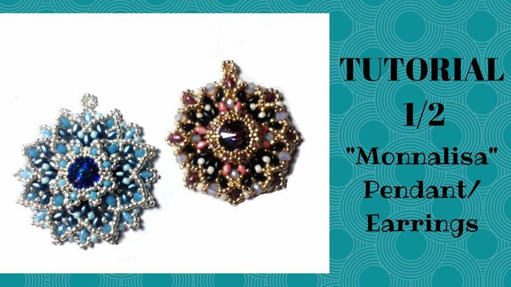 """Tutorial perline 1/2 : come realizzare un ciondolo/orecchino """"Monnalisa""""..."""