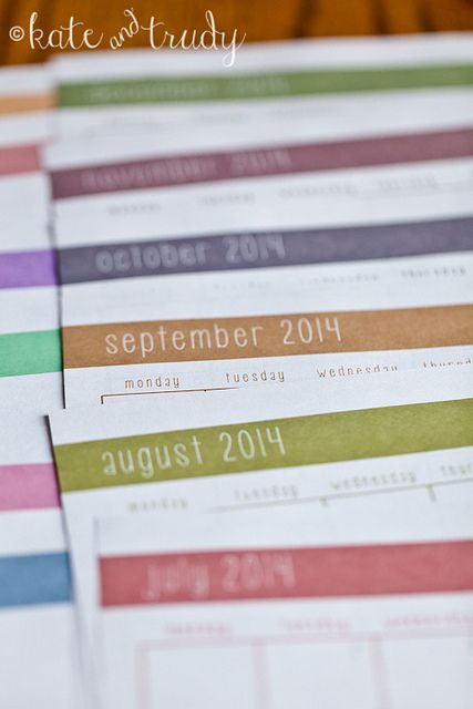 2014 Monthly Calendar Printable | www.kateandtrudy.com by kateandtrudy, via Flickr
