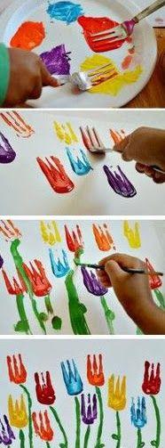 Kleine kunstprojecten voor grote kunstenaars!: Lente: vorken tulpen (idee van pinterest uitgewerkt in stapjes!) Creatieve activiteiten voor kinderen! Klein én groot!