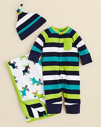 Roll for Zoom Larger View  Offspring Infant Boys' Striped Coverall & Hat Set & Moose Blanket- Sizes 3-9 Months