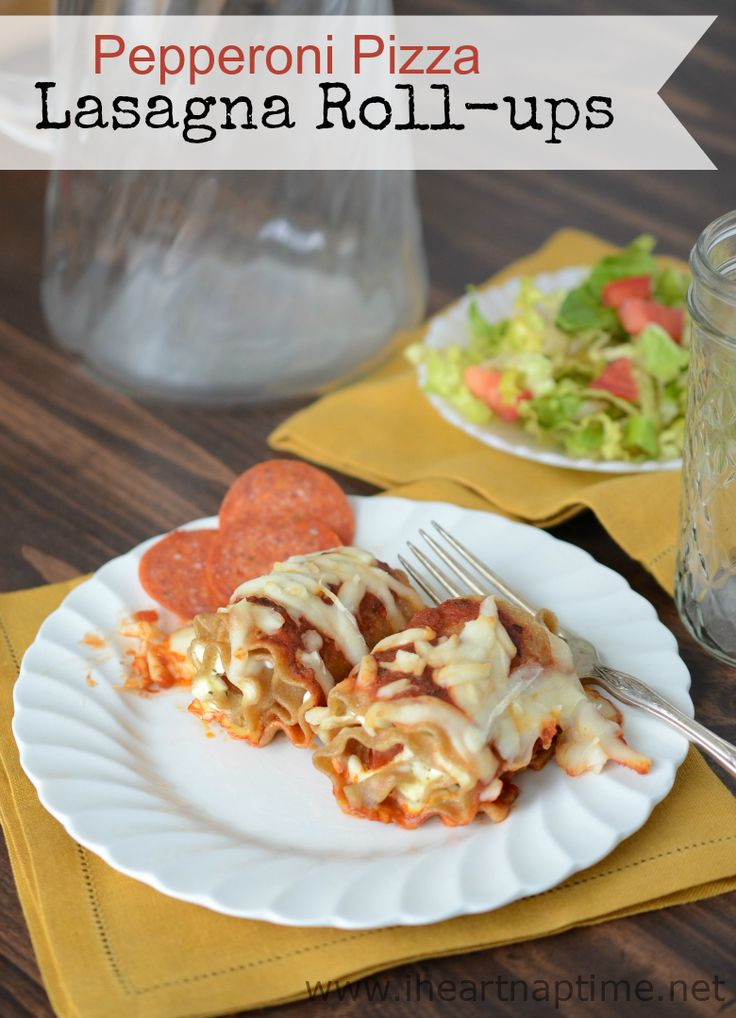 Pepperoni Pizza Lasagna Roll-ups ...you won't believe how easy these are to make!
