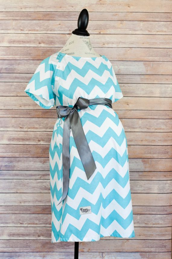 I LOVE THIS SO MUCH!!! - Maternity Hospital Delivery Gown in Aqua Chevron Super by modmum, $64.00