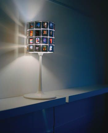 Old family slides used to make a lamp