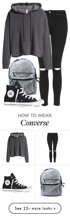 """""""Sans titre #249"""" by sara-benhamida on Polyvore featuring Topshop, H&M and Converse"""