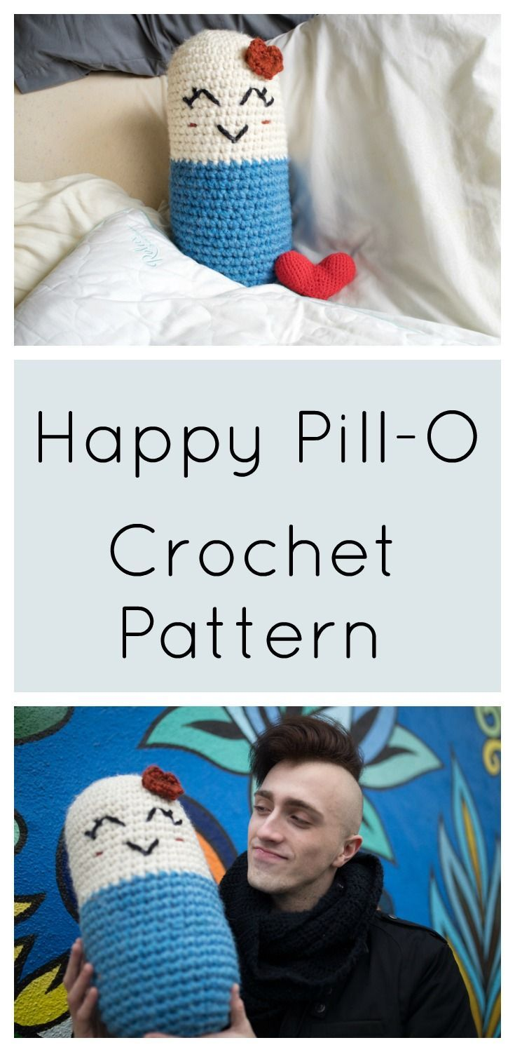 Make your own Happy Pill-O for those loved ones who are fighting mental illness. Free easy crochet pattern