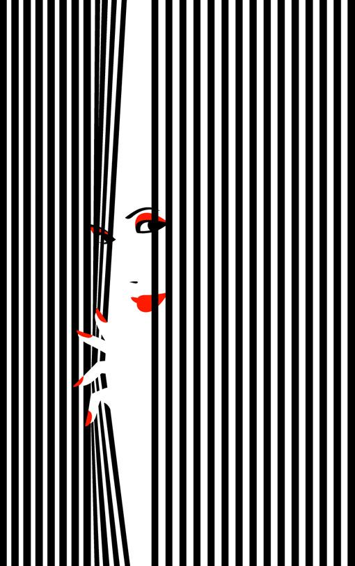 // Malika Farve Similar to the previous design, this image also uses lines in a creative, simple, and effective way. The black vertical lines connote curtains, which contrasts with the red lips and prominent facial features through the use of closure! The white space in between the centre of the curtains draws the viewer's eye to the face which is the most important aspect.