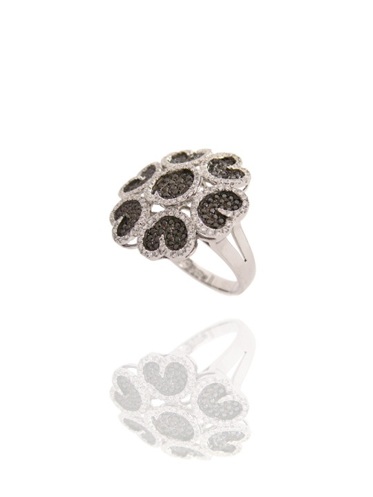 Black and White Diamond Ring - 18k white gold and diamonds form a cluster of petals - www.18karat.ca #jewellery #jewelry #ring