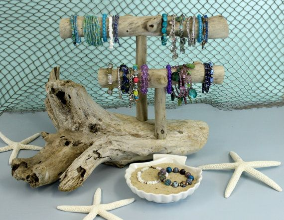 Driftwood Jewelry Holder TwoLevel Driftwood by StrollinTheBeach, $58.00
