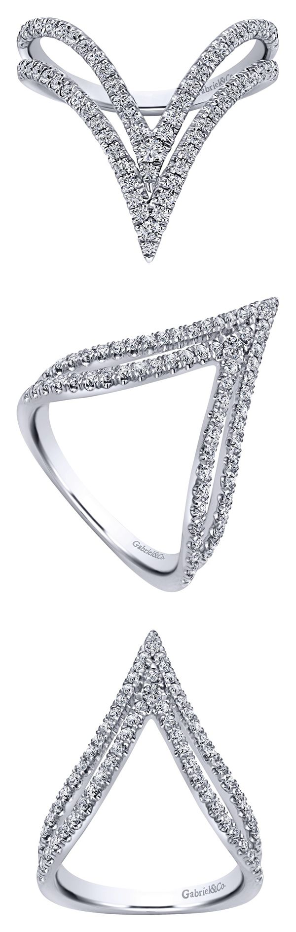 A beautiful 14k White Gold Diamond Ring from Gabriel & Co. We absolutely love the daring design on this ring with all the gorgeous diamonds it has all over! The sharpness of this ring is so intriguing and unique.