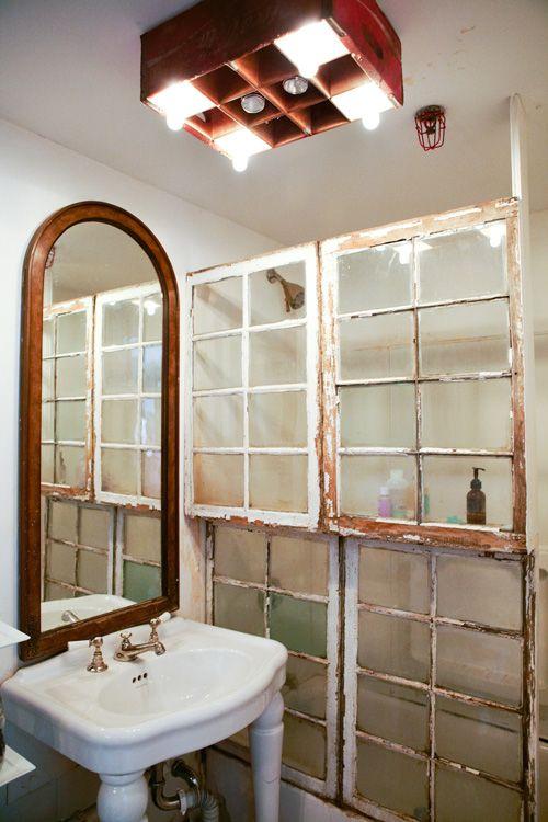 #bathroom #shower #screen #old #windows #idea #interior #clever #cute #rustic #mirror #bason #vanityDecor Ideas, Lights Fixtures, Shower Doors, Old Windows Frames, Windows Panes, Recycled Windows, Recycle Windows, Shower Curtains, Bathroom