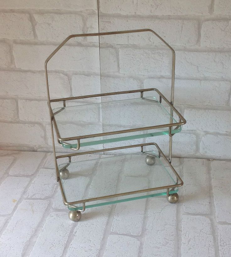 Vintage 1920's Art Deco Metal and Glass Two Tier Rectangular Cake Beauty Stand in Home, Furniture & DIY, Cookware, Dining & Bar, Tableware, Serving & Linen | eBay