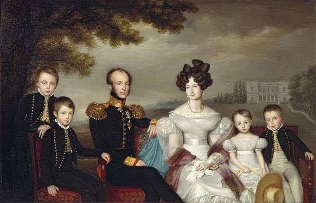1832 King Willem II, Queen Anna Paulowna, and children by Jan Baptist van der Hulst (Dutch Royal Collection)   Grand Ladies   gogm