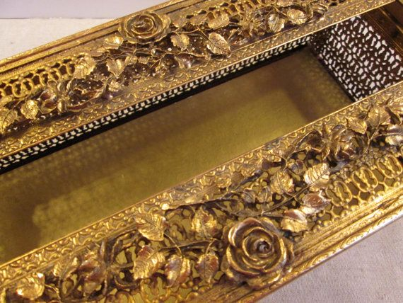 Tissue box cover Hollywood Regency gold rose by TapersnPetals
