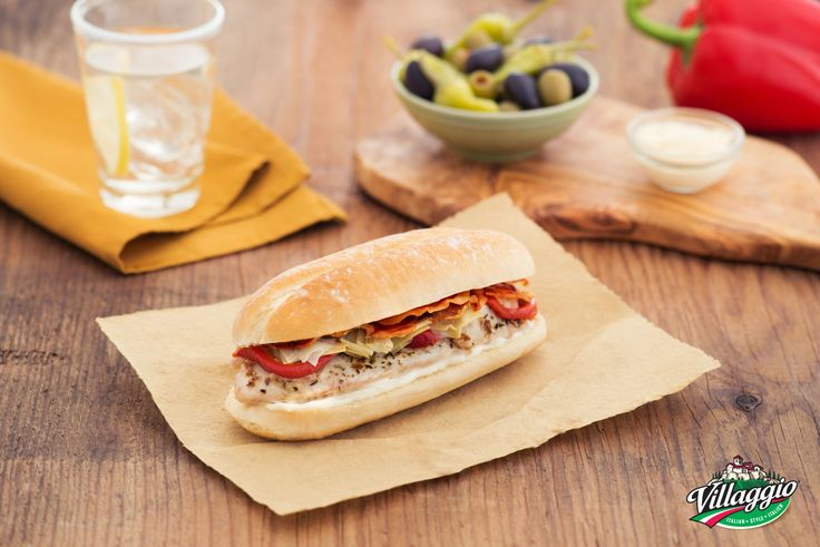 Grilled Fish Sandwich with Pancetta, Red Peppers and Artichokes