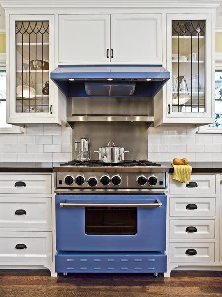 Blue enamel pro style cooking range set in white cabinets for White enamel kitchen cabinets