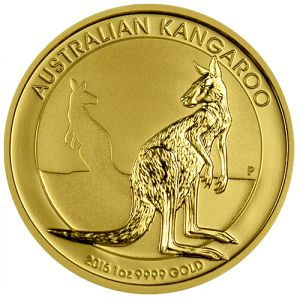 2016 Australian Kangaroo Gold Coins - 1 oz. The 2016 Australian Kangaroos are one of our favorite modern gold coins and are produced by the Perth Mint. They combine great features of being genuine legal tender, mintages that are strictly limited, and a design that changes every year.   Each one is minted in a quarter ounce of 99.99% fine gold to the highest standards of proof-like quality and comes in a hard plastic capsule . www.austincoins.com/2016-australian-kangaroo-gold-coins-1-oz.html