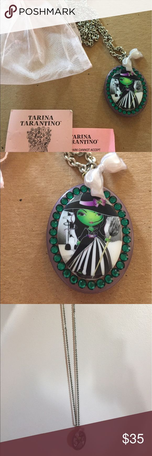 Tarina Tarantino Wicked Witch Necklace Tarina Tarantino Wicked Witch of the West Wizard of Oz necklace. Very long chain, lightly worn. Comes with original information card and pouch. Tarina Tarantino Jewelry Necklaces