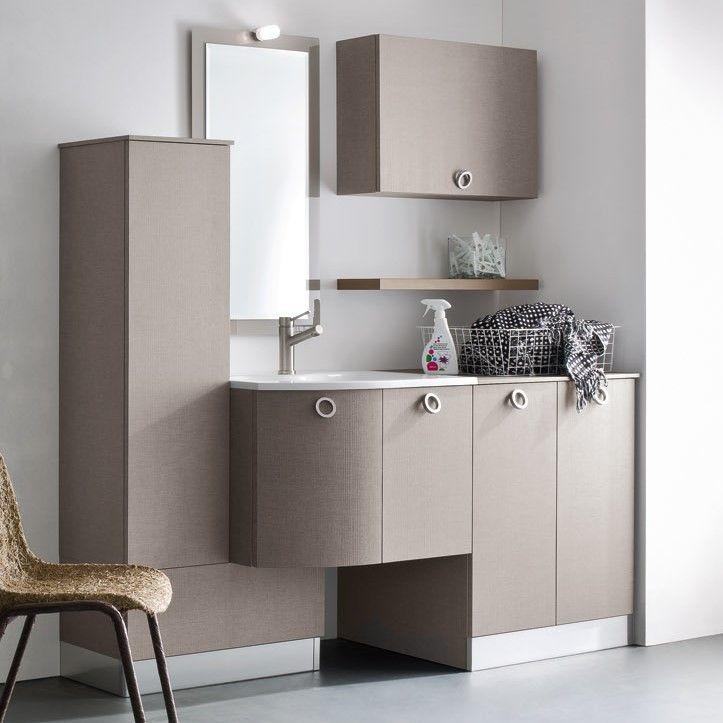 Mobile lavanderia per lavatrice ad incasso N42 - Atlantic cm 175 p.63/40 in nobilitato spinato 620 levante