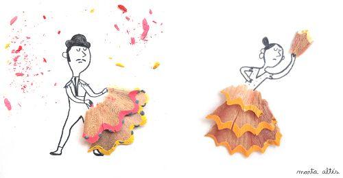 Curiosidades:Dibujos creativos con restos de sacapuntas Genial :D