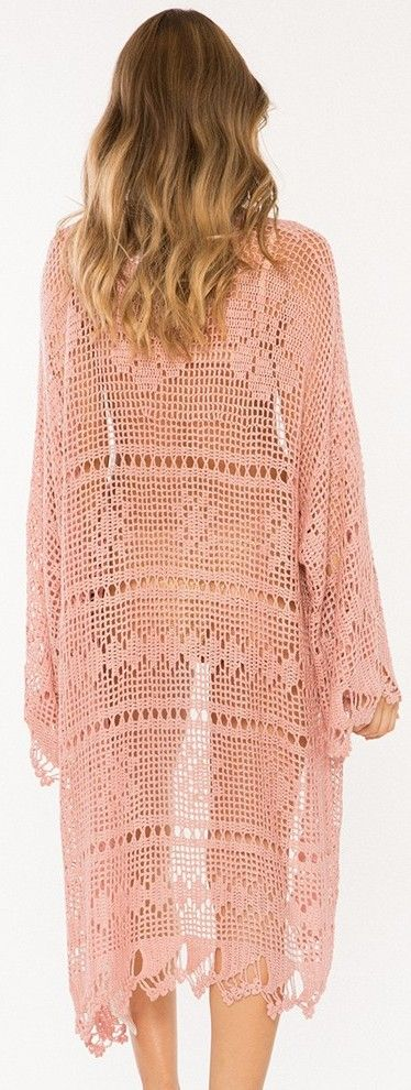 Somedays Lovin - big wave crochet kimono in pink