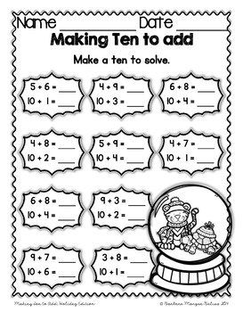 Making Ten to Add Mega Holiday Math Practice 1.OA.6A First