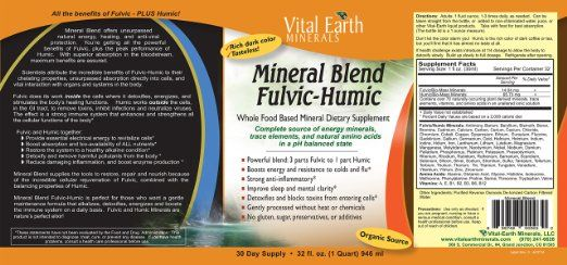 Vital Earth Minerals Mineral Blend Fulvic-Humic, 32 Fluid Ounce from Vital Earth Minerals