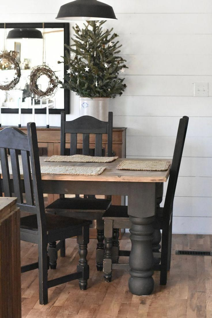 Rustic Farmhouse Christmas Dining Room Table And Chairs Painted
