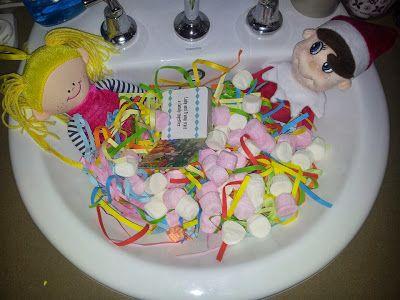 #ElfOnTheShelfIdeas #ElfieJasinski #KidsChristmasTradition #Creative #MarshmallowBath #Dolls