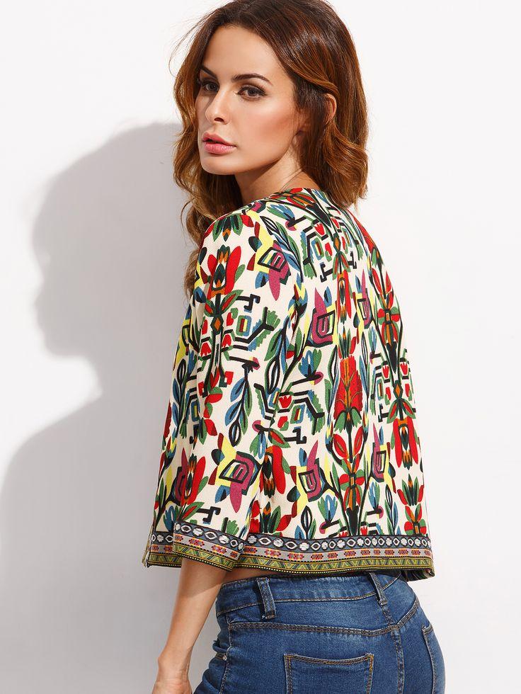 Разноцветный жакет с этническим принтом с вышивкой