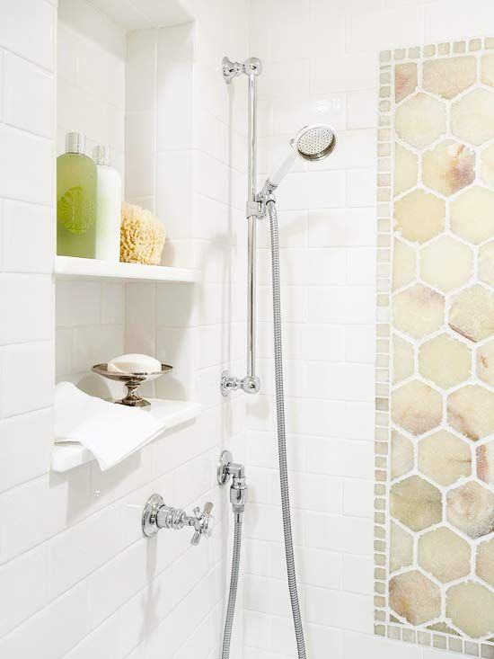 A hand held shower head is the best gift you can give yourself and your bathroom: Before you get out of the shower, spray down your doors and walls to keep soap residue from making your weekly cleaning chores a real chore. Note: the decorative tile is tumbled onyx.