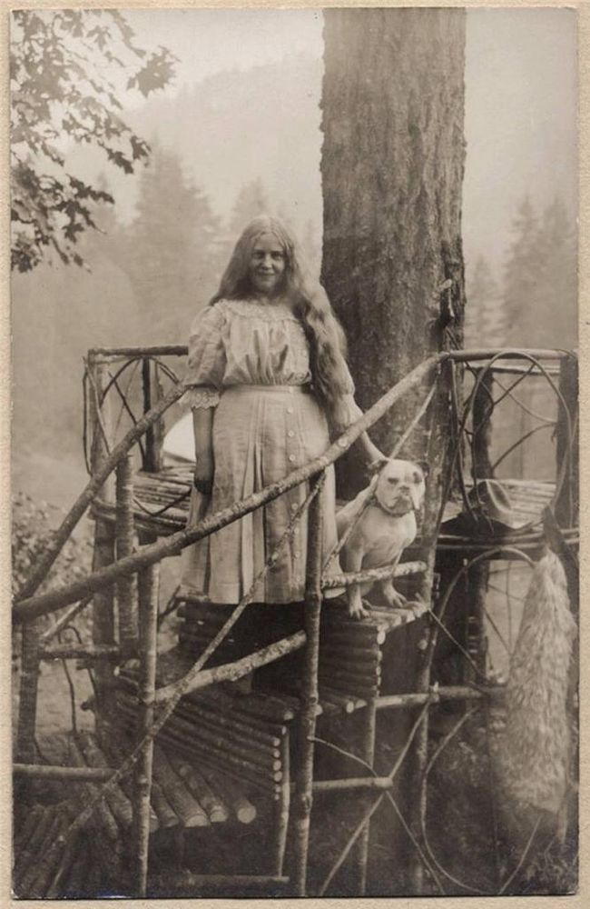 rppc YOUNG LONG HAIR WOMAN w PET BULL DOG at FOREST VIEW