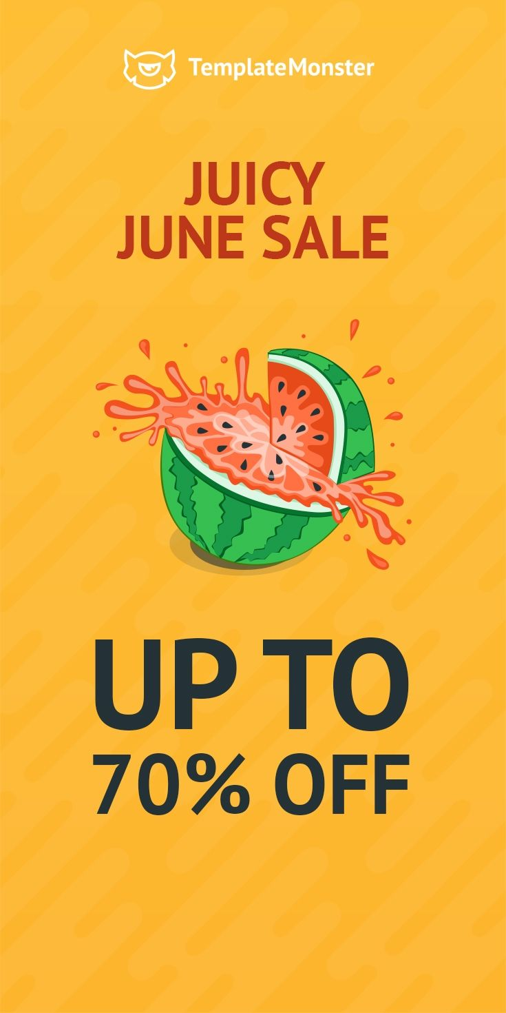 🍉Juicy June #Sale! 💰Save up to 70% buying #digitalproducts from #TemplateMonster  💰This special #offer is available for a short time only, and will expire on June 13! Hurry Up! ;)  #website #webtemplate #webdesign #template #font #WordPress #eCommerce