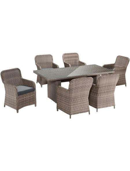 13-tlg. Gartenmöbelset »Kapstadt«,6 Sessel,Tisch 200x100 cm, Polyrattan, natur  Hagebaumarkt