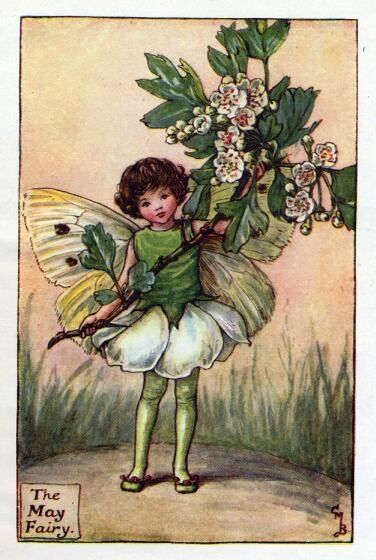 May Flower Fairy Vintage Print by Cicely Mary Barker printed c.1927 – The May Flower Fairy is one of Cicely Barkers Spring Flower Fairies.