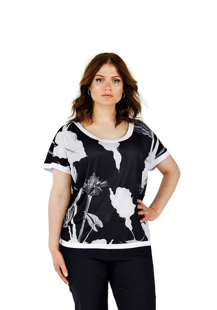 Typ , Shirt,  Materialzusammensetzung , 95% Polyester, 5% Elasthan,  Ausschnitt , großer Rundhalsausschnitt,  Ärmelstil , überschnittene Ärmel,  Optik , Blumendruck,  Gesamtlänge , größenangepasste Länge 66-74 cm,  Ärmellänge , ½ Arm,   ...