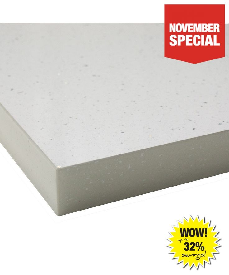 White Andromeda Gloss 40mm Laminate Kitchen Worktop With Square Edge