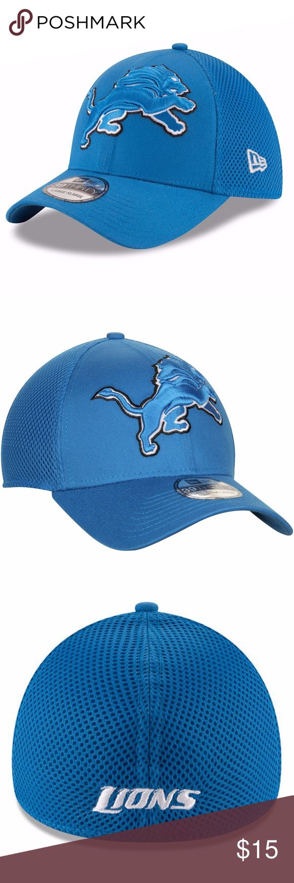 Detroit Lions New Era Blue Mega Team Neo 39THIRTY Brand New Officially Licensed with tags. This Detroit Lions New Era Blue Mega Team Neo 39THIRTY features bold embroidered Lions logo on the front and embroidered name on the back with stretch fit.  Med (7 1/4- 7 1/2)(55.8cm-59.6cm) New Era Accessories Hats