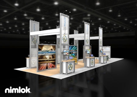 Nimlok designs trade show exhibits and technology displays. For Routematch Software, we showcased their products with a large-scale trade show booth.