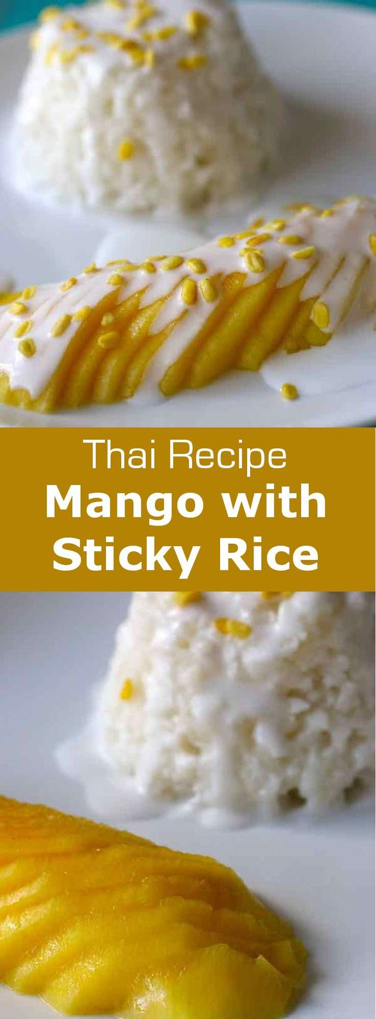 Mango with sticky rice is a delicious Thai dessert prepared with glutinous rice, mango and coconut milk, and that is topped with crunchy toasted mung beans.