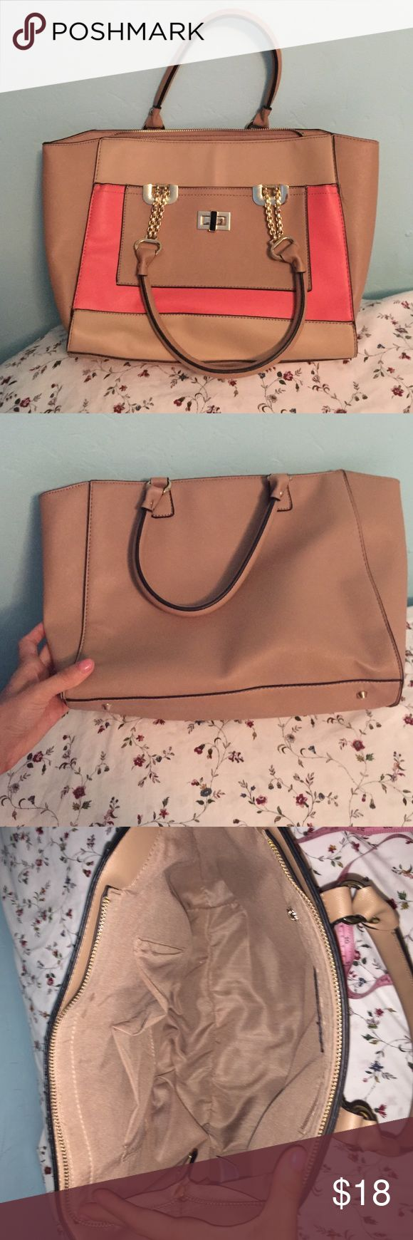 New Look shoulder tote bag It's tan and coral. It stretches out to about 16 wide on top and the bottom is 12 inches. It is 10 inches tall. It's in great condition and only worn once. The zippers both work. New Look Bags Totes