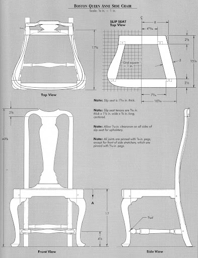 Diagram Queen Anne Side chair
