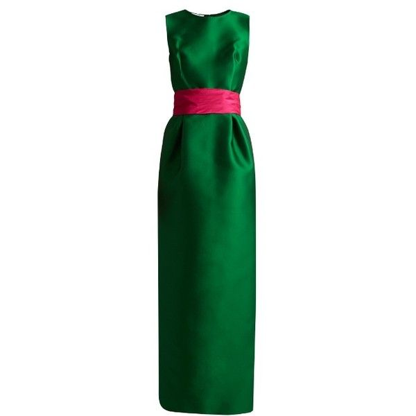 Oscar De La Renta Bi-colour satin column gown ($5,480) ❤ liked on Polyvore featuring dresses, gowns, green multi, embellished dress, oscar de la renta ball gown, satin dress, satin ball gown and satin gown