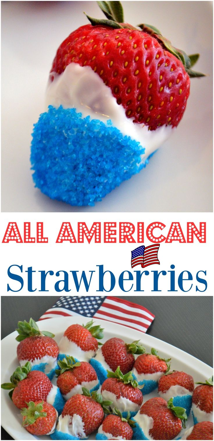 All-American Strawberries- a 10-minute treat for any All-American holiday! So simple, you can even throw these together from your holiday hotel room!