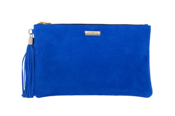 Ultramarine Blue Leather Suede Clutch Leather Tassel by MONAObags